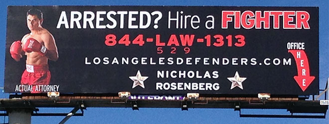The billboard above the office of Nicholas Rosenberg