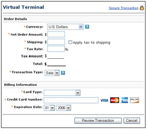 Also included in the PayPal Payments Pro is PayPal Virtual Terminal
