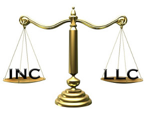 Image of a scale with and INC and LLC symbol