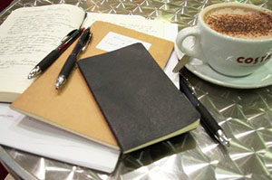 Image of desk with journal