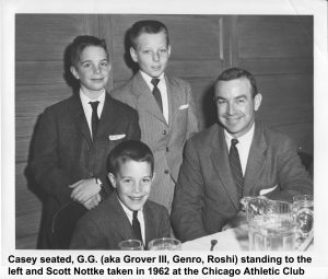 Dad, G.G., Casey and Scott in 1962 at the Chicago Athletic Club