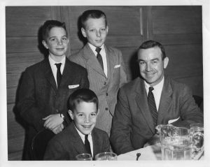 """Chicago Athletic Club--standing L to R Grover """"G.G."""" and our neighbor Scott Nottke -- seated Casey and Dad--1961"""
