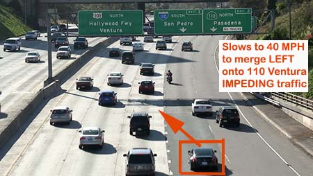 Example of impeding traffic